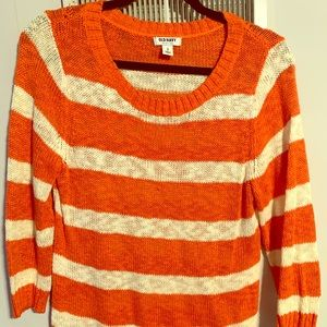Old Navy peach and white 3/4 sleeve sweater sz M